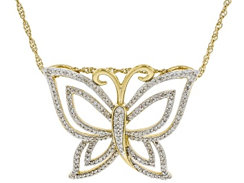 Picture of White Diamond 14k Yellow Gold Over Sterling Silver Butterfly Pendant With Chain 0.70ctw