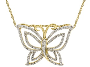 White Diamond 14k Yellow Gold Over Sterling Silver Butterfly Pendant With Chain 0.70ctw
