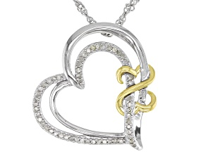 White Diamond Rhodium And 14k Yellow Gold Over Sterling Silver Heart Pendant With Chain 0.15ctw