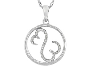 White Diamond Rhodium Over Sterling Silver Pendant With Chain 0.15ctw