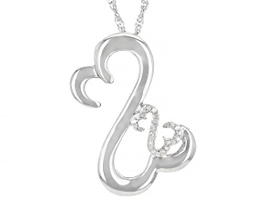 White Diamond Accent Rhodium Over Sterling Silver Pendant With Chain