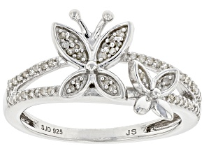 White Diamond Rhodium Over Sterling Silver Butterfly Ring 0.15ctw