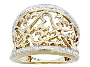 White Diamond 14k Yellow Gold Over Sterling Silver Wide Band Ring 0.25ctw