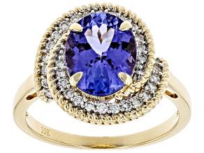 Blue Tanzanite 10k Yellow Gold Ring 3.17ctw