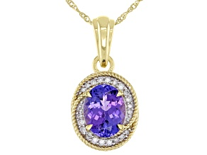 Blue Tanzanite 10k Yellow Gold Pendant With Chain 2.76ctw