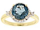 London Blue Topaz 10k Yellow Gold Ring 3.46ctw