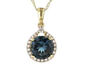 London Blue Topaz 10k Yellow Gold Pendant With Chain 3.45ctw