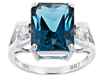 Picture of London Blue Topaz Rhodium Over 10k White Gold Ring 6.65ctw