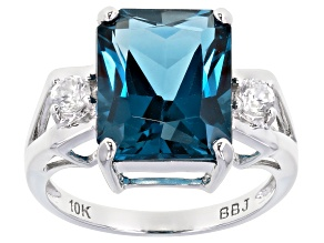 London Blue Topaz Rhodium Over 10k White Gold Ring 6.65ctw