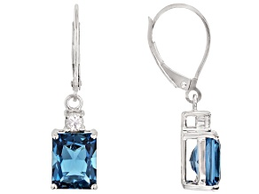 London Blue Topaz Rhodium Over 10k White Gold Earrings 5.37ctw