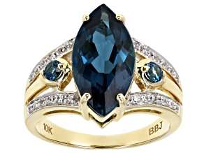 London Blue Topaz 10k Yellow Gold Ring 4.20ctw