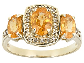 Orange Nigerian Spessartite 10k Yellow Gold Ring 1.87ctw