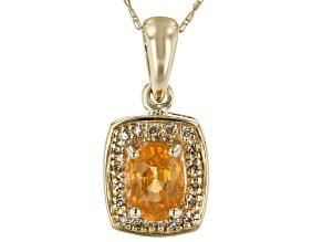 Orange Mandarin Garnet 10k Yellow Gold Pendant With Chain .87ctw