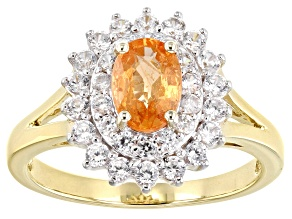 Orange Mandarin Garnet 10k Yellow Gold Ring 1.75ctw