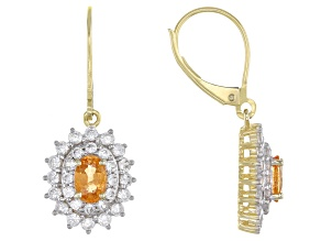 Orange Nigerian Spessartite 10k Yellow Gold Earrings 2.61ctw