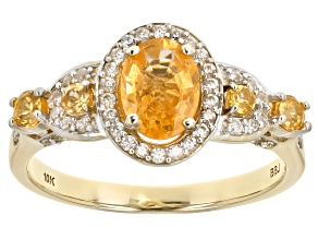 Orange Spessartite Yellow Gold Ring 1.58ctw