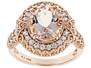 Pink Morganite 10k Rose Gold Ring 3.36ctw