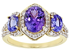 Blue Tanzanite 14k Yellow Gold Ring 3.19ctw