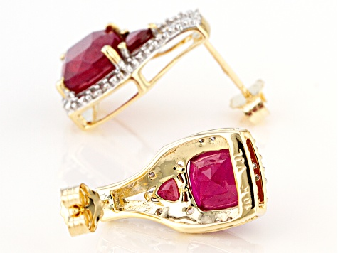 Red Mahaleo® Ruby 10k Yellow Gold Earrings 4.98ctw