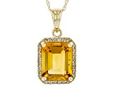 Golden Citrine 10k Yellow Gold Pendant With Chain 2.64ctw