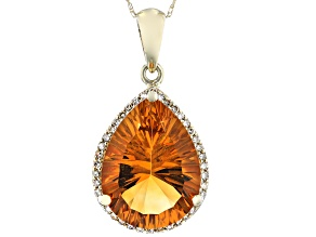 Golden Citrine 10k Yellow Gold Pendant With Chain 6.42ctw