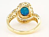 Teal Lab Created Alexandrite 10k Yellow Gold Ring 2.40ctw