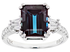 Teal Lab Created Alexandrite Rhodium Over 10k White Gold Ring 4.15ctw