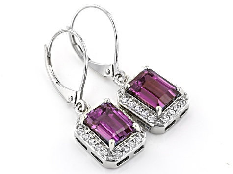 Teal Lab Created Alexandrite Rhodium Over 10k White Gold Earrings 3.67ctw