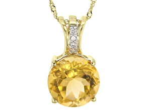 Golden Citrine 10k Yellow Gold Pendant With Chain 4.28ctw