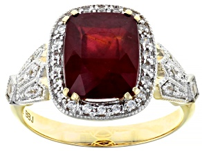 Red Mahaleo® Ruby 10k Yellow Gold Ring 3.91ctw