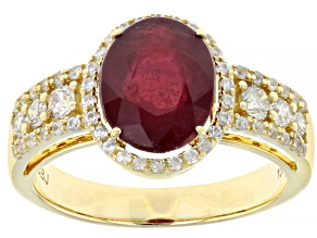 Red Mahaleo® Ruby 10k Yellow Gold Ring 3.76ctw