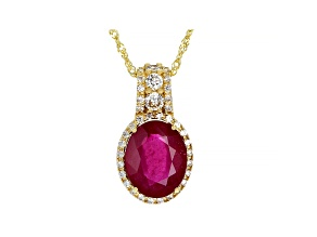 Red Mahaleo® Ruby 10k Yellow Gold Slide/Pendant with Chain 3.56ctw