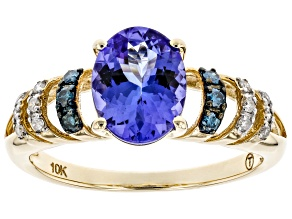 Blue Tanzanite 10k Yellow Gold Ring 1.92ctw