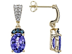 Blue Tanzanite 10k Yellow Gold Earrings 2.80ctw