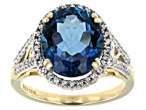 London Blue Topaz 10k Yellow Gold Ring 5.45ctw