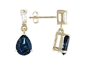 Pear London Blue Topaz 10k Yellow Gold Earrings