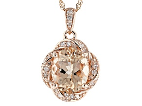Pink Cor De Rosa Morganite 10k Rose Gold Pendant With Chain 2.16ctw
