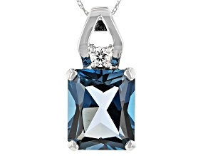 London Blue Topaz Rhodium Over 10k White Gold Pendant With Chain 6.51ctw