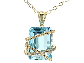 Sky Blue Topaz With White Zircon 10k Yellow Gold Pendant With Chain 8.54ctw