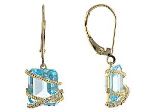 Sky Blue Topaz With White Zircon 10k Yellow Gold Earrings 6.92ctw
