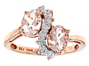 Pink Cor De Rosa Morganite 10k Rose Gold Bypass Ring 1.59ctw