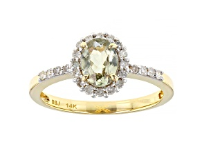 Oval Color Change Turkish Diaspore With Diamond 14k Yellow Gold Ring 0.85ctw