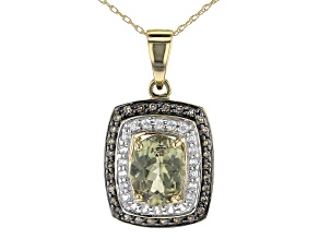 Green Diaspore 14k Yellow Gold Pendant With Chain 1.76ctw
