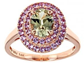 Green Diaspore 14k Rose Gold Ring 1.70ctw