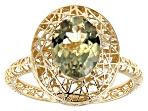 Green Turkish Diaspore 14k Yellow Gold Filigree Ring 1.45ct
