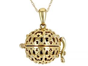Blue Sapphire 10k Yellow Gold Prayer Box Pendant With Chain 1.40ctw