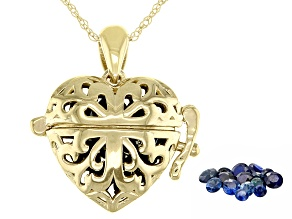 Blue Sapphire 10K Yellow Gold Heart Prayer Box Pendant With Chain 1.50ctw