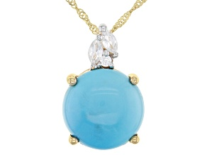 Blue Turquoise 10k Yellow Gold Pendant With Chain 0.23ctw