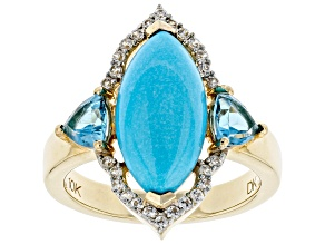 Blue Sleeping Beauty Turquoise 10k Yellow Gold Ring 3.84ctw
