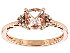 Pink Cushion Cor-de-Rosa Morganite™ 10k Rose Gold Ring 0.91ctw